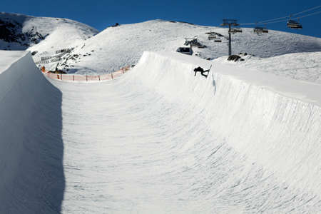 snow grooming machine: Halfpipe of Kitzsteinhorn ski resort in Austria