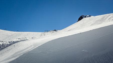 snow grooming machine: Snowboard and ski park at Kitzsteinhorn ski resort, Austria Stock Photo