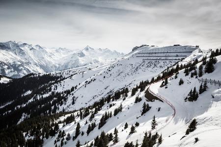 kitzsteinhorn: Beautiful view from Kitzsteinhorn ski resort in Alps Stock Photo