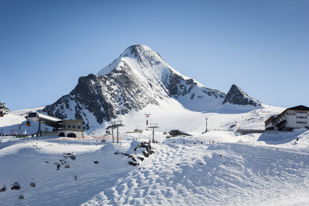 kitzsteinhorn: Snowboard and ski park at Zell am See- Kaprun ski resort, Austria Stock Photo
