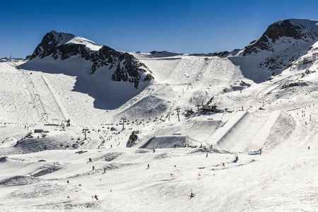 moguls: Snowboard and ski park at Zell am See- Kaprun ski resort, Austria Stock Photo