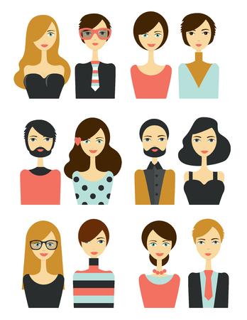 Avatar people head. Various modern cartoon faces. Flat design illustration. Vektorové ilustrace