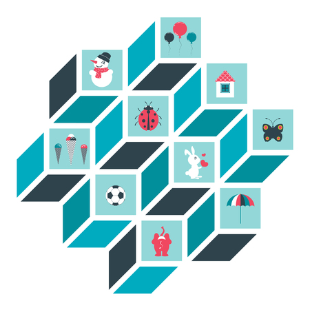 umbrela: Child toy sign, shapes. Cube design.