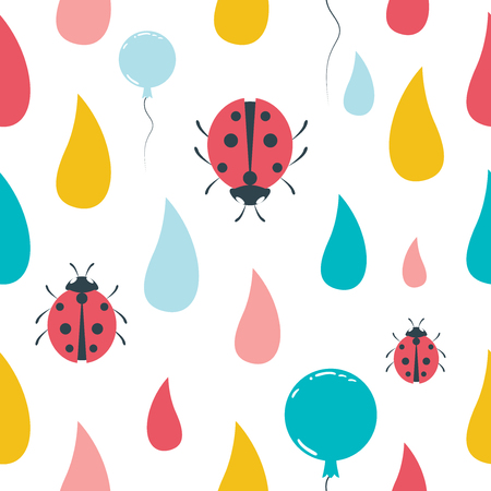 Color Kid Drops And Ladybird Pattern Flat Design Repeat Seamless Background Vector