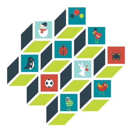 umbrela: Child toy sign, shapes. Cube design. Flat pictograms. Illustration