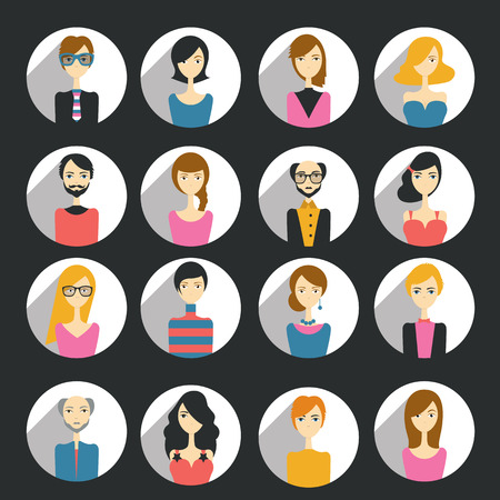 discussion forum: Avatar people head isolated on black. Various cartoon modern faces for discussion forum. Flat design illustration.