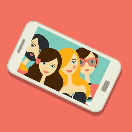 Friend selfie photo. Group of young people. Flat people design. Vektorové ilustrace