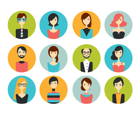 discussion forum: Avatar people head. Various cartoon modern faces for discussion forum. Flat design illustration.