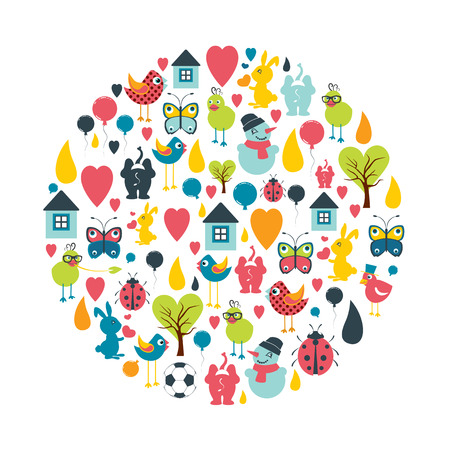 kids and toys: Circle set of child, kid toys flat icon shapes. Trend pictogram set. Illustration