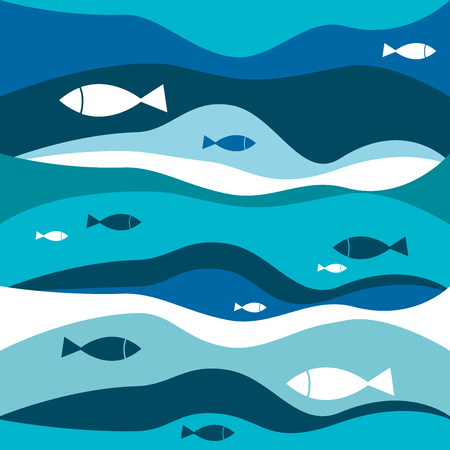 fishes pattern: Blue abstract waves with fishes pattern. sea illustration background.