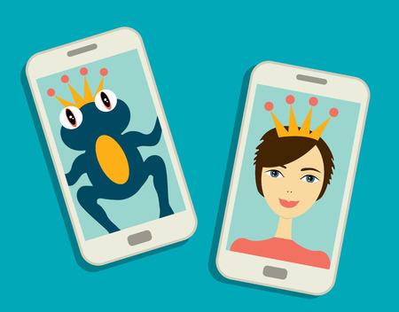 Funny selfie photo. Frog prince and beauty boy make selfie photo. Flat love theme design. Vector.