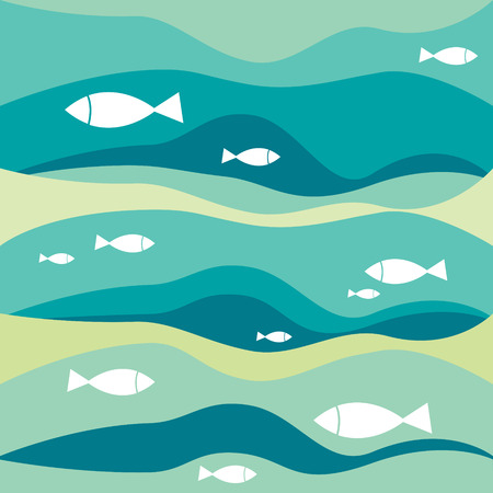 fishes pattern: Abstract waves with fishes pattern. Vector sea illustration background. Illustration
