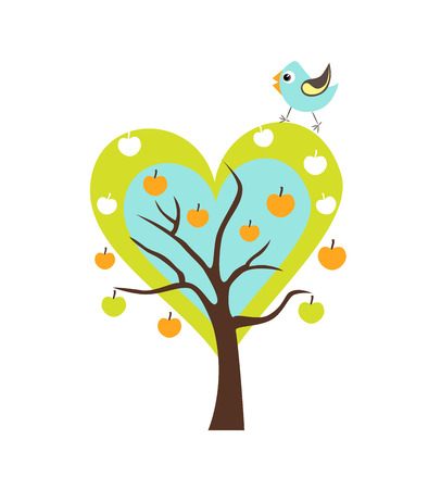 singing bird: Heart tree with Singing Bird. Stylized happy cartoon illustration. Flat color vector design. Child theme. Illustration