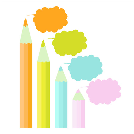colour pencil: Four step chart happy modern template scheme colour pencil pastel cloud. Infographic step by step graphic.