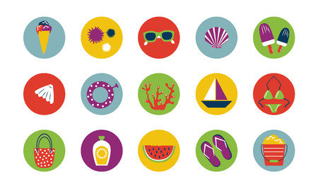 Set of summer modern relax vacation icons. Traveling, tourism theme. Vector