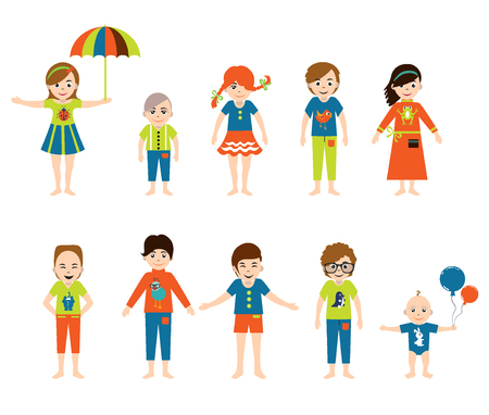 sleeper: Set of modern avatar dressed friends children. Vector. Illustration