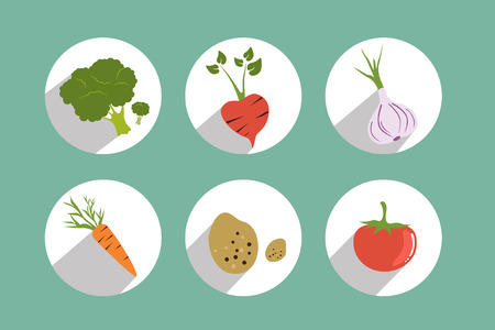 lon: Set of circle color vegetable icons. Flat vector design.