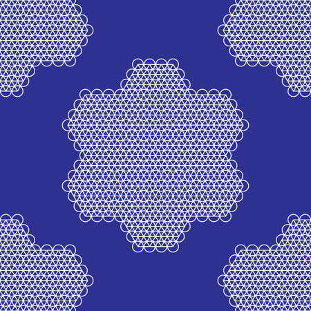 tile able: Lace tile able patter blueprint blue and white. Vector Illustration