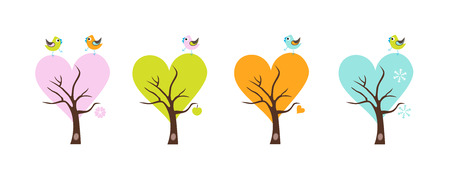 pink wall paper: Four season trees with Singing Birds. Stylized happy cartoon illustration. Flat color vector design. Child theme. Illustration