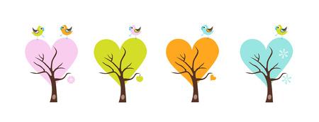 four season: Four season trees with Singing Birds. Stylized happy cartoon illustration. Flat color vector design. Child theme. Illustration