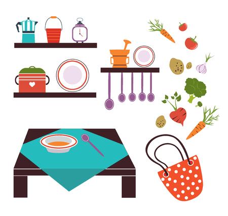 plat: modern kitchen color tools vegetable. Cooking flat vector design.