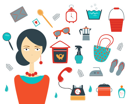 house wife: Collection of colorful house wife stuff. Modern flat set. Vector. Illustration