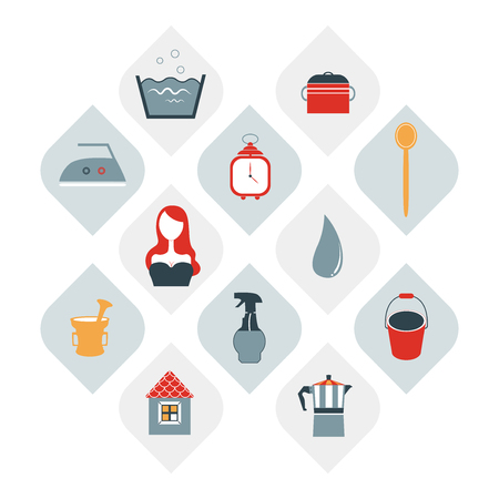stuff: Collection of house wife stuff. Modern flat icon. Vector.