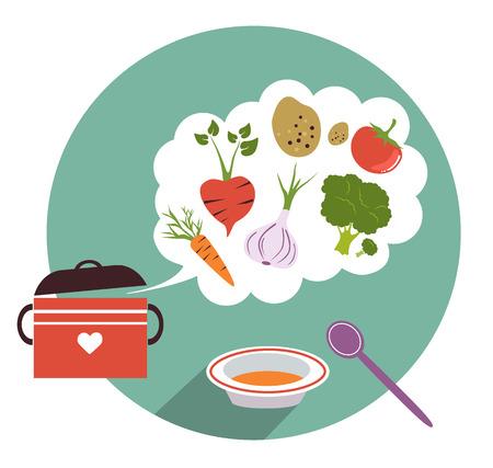 stilllife: Stilllife color vegetable. Cooking flat vector design.