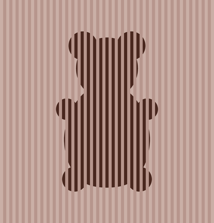 playful: playful retro teddy bear on stripes background. Vector