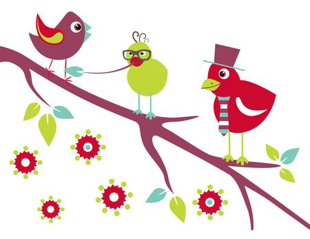 white sticker: Birds on the tree. Stylized happy cartoon animal. Flat vector illustration. Child Color design. Illustration