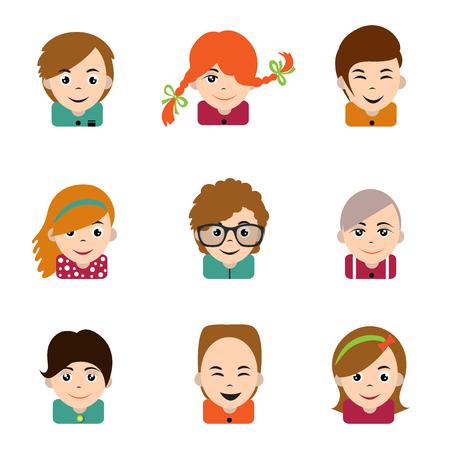 teen boy: Avatar children people head. Various cartoon modern happy faces. Flat design vector illustration. Illustration