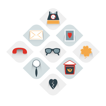 stuff: Collection of post office stuff. Modern flat icon. Vector.