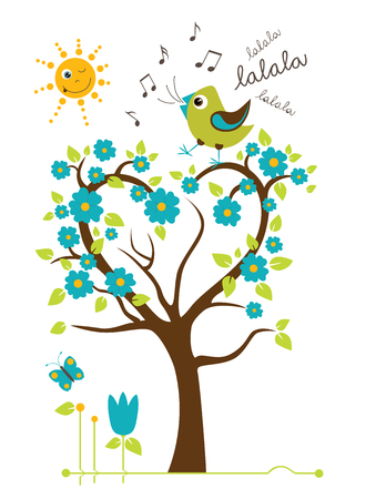 singing bird: Singing Bird on the tree. Stylized happy cartoon illustration. Flat color vector design. Child theme. Illustration