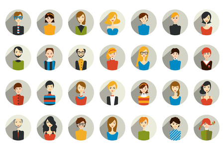 big head: Big set of stylish people avatar head. Man, woman and child icons in flat design.