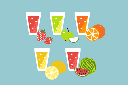 mixed drink: Fruit summer smoothie raw cocktail set. cartoon flat design icons.