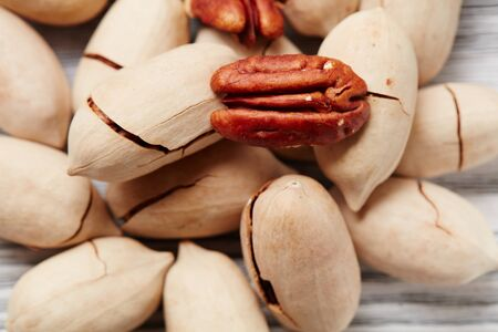 Pecans on a wooden table