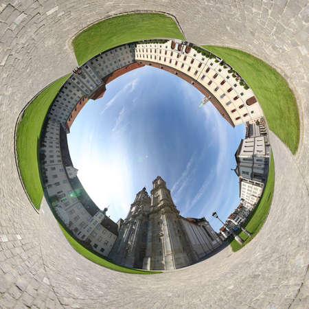 deg: The cathedral of St. Gallen and surrounding buildings (360 deg. panorama)