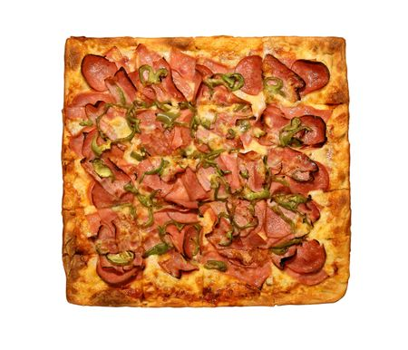 pepperoni pizza: top view of a square pizza isolated on a white background