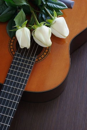 Composition of three white roses on the guitar photo