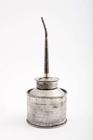oilcan: old rast tin oilcan, isolated background