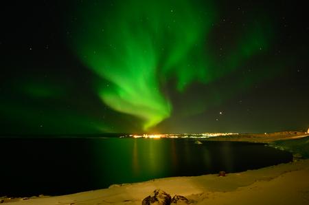 Aurora borealis in Nuuk, Greenland Zdjęcie Seryjne - 78663301