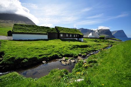 The old church in Vidareidi, Faroe Islands Zdjęcie Seryjne - 78663300