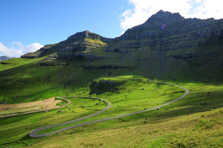 The village Mikladalur in Faroe Islands Zdjęcie Seryjne