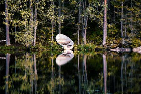 lakeshore: Reflective lakeshore Stock Photo