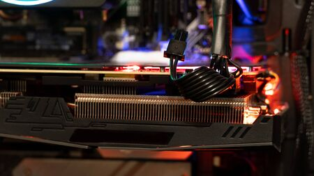 Graphics processing unit with neon light. LED Light, CPU Cooler. Stock Photo