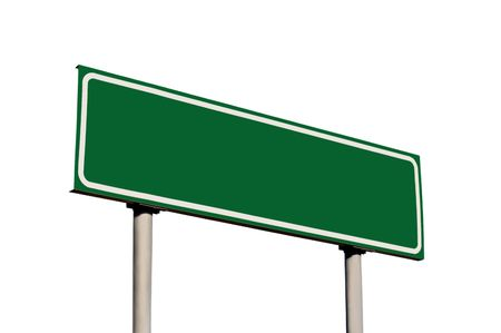 highway signs: Blank Green Road Sign Isolated Stock Photo