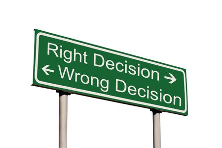 wrong way: Right and Wrong Decision Road Sign Isolated