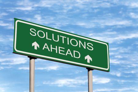 galvanised: Solutions Ahead Road Sign Against Sky