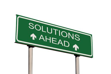 Solutions Ahead Road Sign Isolated Stock Photo - 5512640