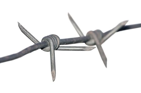 Barbed wire isolated macro, shallow DOF Stock Photo - 5512635